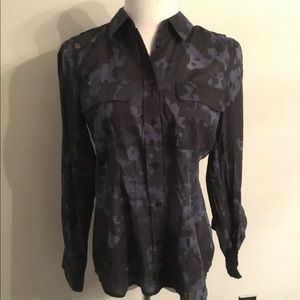 Michael Kors blue army print blouse